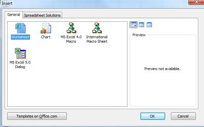 Insert a new worksheet via contextual menu